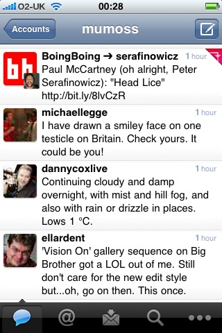 Screengrab of Tweetie 2 showing retweet facility
