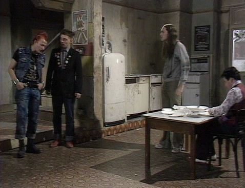 Screenshot from Young Ones episode Cash, showing fridge