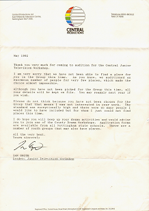 Letter from Central in 92