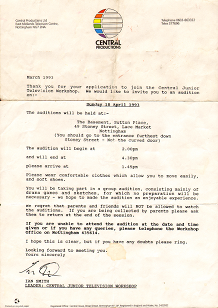 Letter from Central in 93