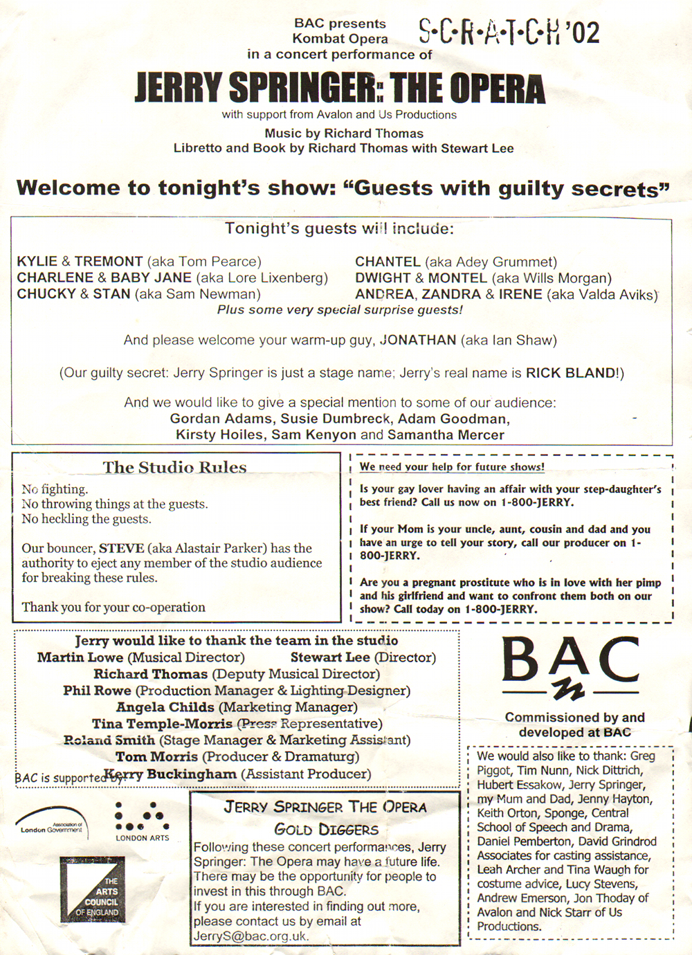 Jerry Springer: The Opera leaflet