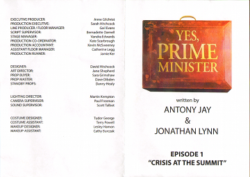 Yes Prime Minister Episode 1 leaflet - Cover