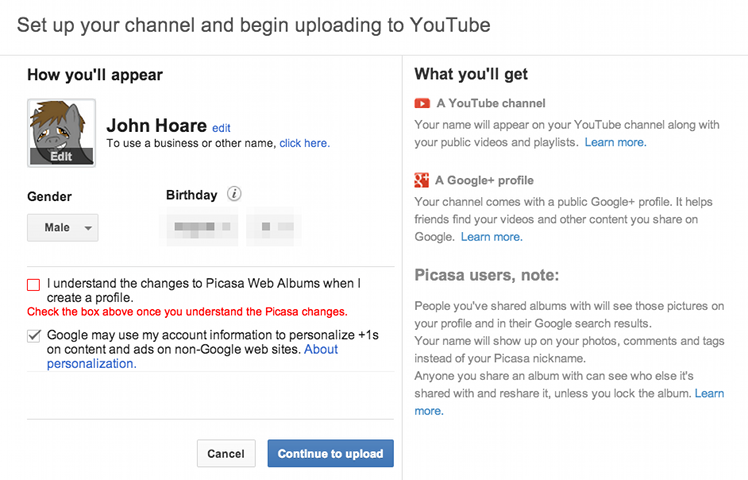 YouTube account creation with Google+ profile screenshot