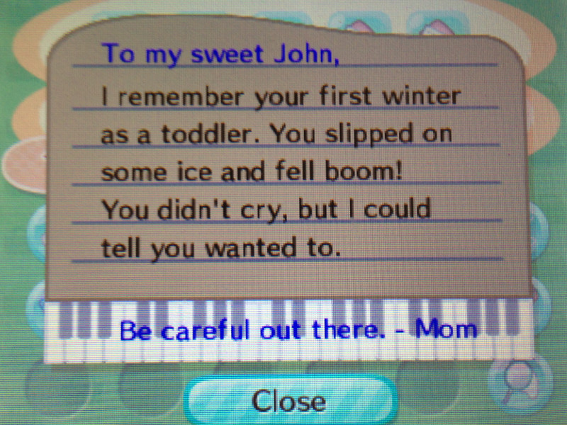 Animal Crossing New Leaf - Mom letter