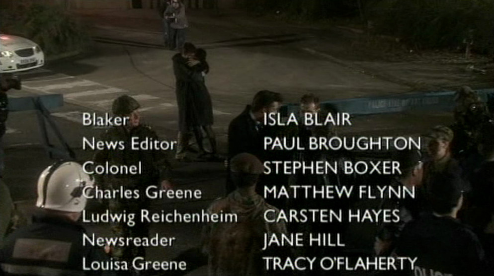 Middle of closing credits, broadcast