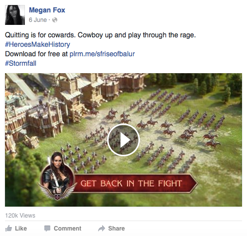 Megan Fox Facebook post