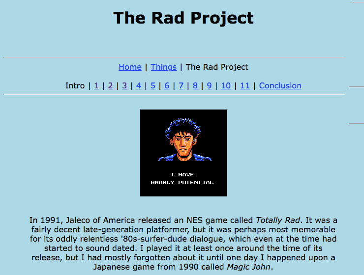 Screenshot of The Rad Project