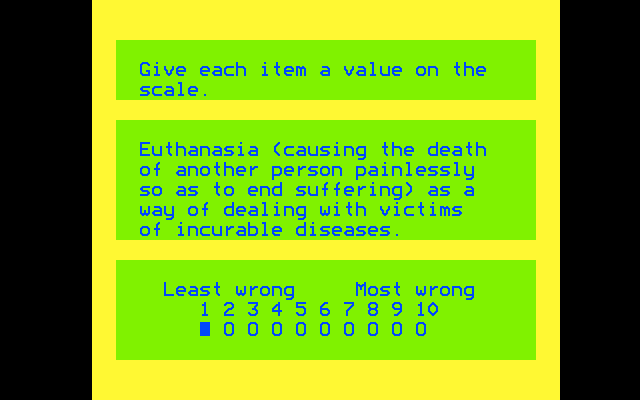 Euthanasia (causing the death of another person painlessly so as to end suffering) as a way of dealing with victims of incurable diseases