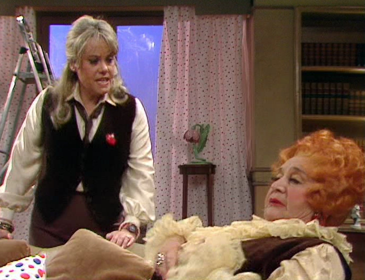Miss Brahms and Mrs. Slocombe in an apartment